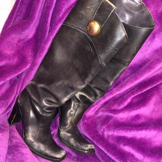 ドルチェアンドガッバーナ(DOLCE&GABBANA)のDOLICE&GABBANA ロングブーツ ブラック×ゴールド ヴィンテージ36(ブーツ)