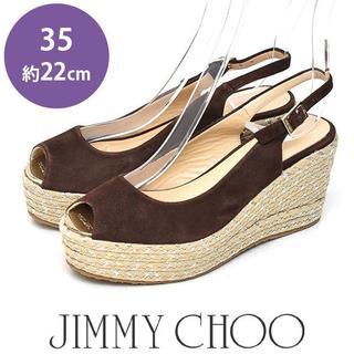 ジミーチュウ(JIMMY CHOO)のほぼ新品❤ジミーチュウ メタルトゥ ウェッジソール サンダル 35(約22cm)(サンダル)