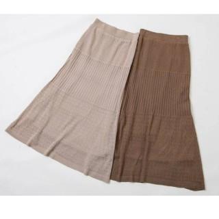 しまむら - プチプラのあや 透かし編みニットマキシスカート中茶