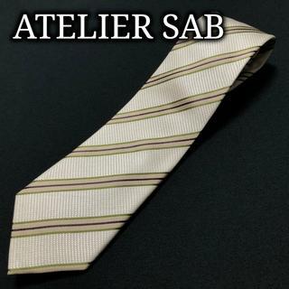 アトリエサブ(ATELIER SAB)のアトリエサブ レジメンタル ベージュ ネクタイ ナロータイ A103-S12(ネクタイ)