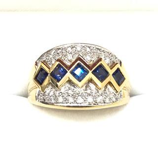 5633 サファイア ダイヤモンド 18金 YGK18 WGk18リング 18号(リング(指輪))