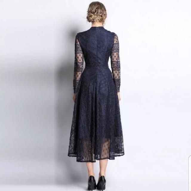 snidel(スナイデル)の【新品未使用】インポート レース シースルーパーティードレス レディースのフォーマル/ドレス(ミディアムドレス)の商品写真