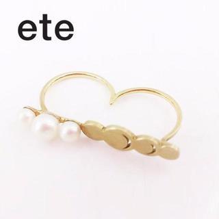 エテ(ete)のエテ ダブル リング パールリング シルバー 925 金 ゴールド 14号(リング(指輪))