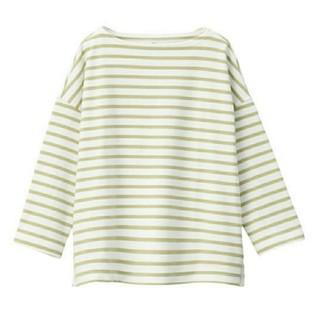 MUJI (無印良品) - 太番手天竺編みドロップショルダーTシャツ(七分袖)婦人M~L・白×ペールグリーン