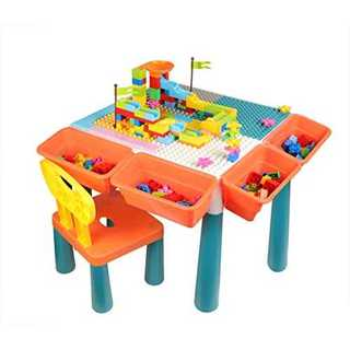 PFLife 子供用 ブロック テーブル コースター テーブル&チェアーセット