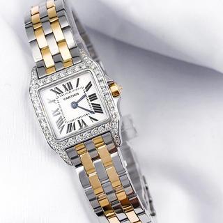 Cartier - 【仕上済】カルティエ サントスドゥモワゼル コンビ ダイヤ レディース 腕時計