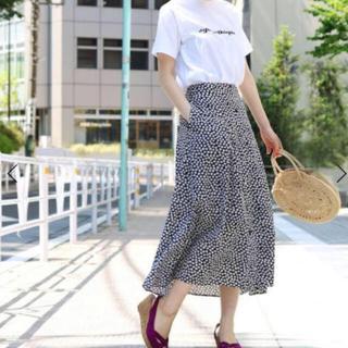 IENA - イエナIENA☆レトロフラワースカート☆38ネイビー