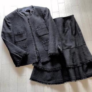 M'S GRACY - 美品 エムズグレイシー ラメ入りツイード素材 ノーカラースカートスーツ 40