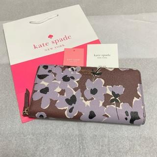 kate spade new york - 最新モデル 新品 ケイトスペード 長財布 フラワー ワインレッド