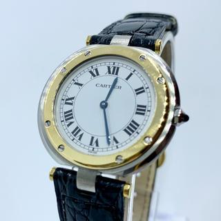 Cartier - 良品Cartier カルティエ サントス ラウンド 純正レザー メンズ腕時計