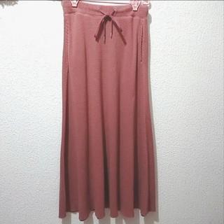 ジーユー(GU)の美品 GU ピンクブラウン ワッフル ロング フレア スカート♥️LL しまむら(ロングスカート)