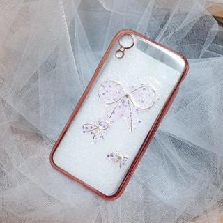 iPhone - iPhoneケース ハンドメイド リボン ラメ