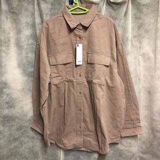 ジーユー(GU)のコーデュロイ オーバーサイズシャツ ピンク XL GU  ジーユー(シャツ/ブラウス(長袖/七分))