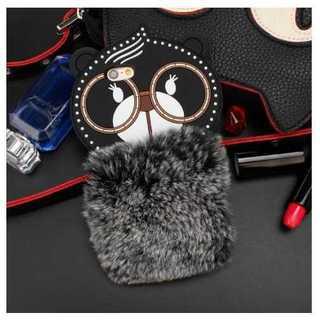 iPhoneケース カバー くまさん メガネベア 黒 ファー かわいい ふわふわ
