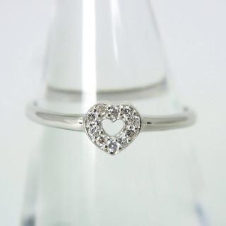 K18WG ダイヤモンド ハート リング 9号[g177-5](リング(指輪))