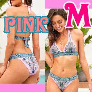 ホルターネック  エスニック 三角ビキニ 水着 ピンク 個性的 夏 リゾート M(水着)