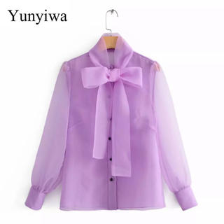 ザラ(ZARA)の♡ purple see-through blouse ♡(シャツ/ブラウス(長袖/七分))