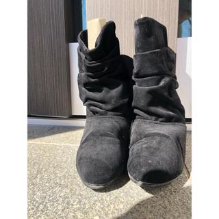 黒 スエードブーツ 3cmヒール(ブーツ)