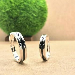 即日発送 2個セット  シルバー925高品質 ペアリング フリーサイズA(リング(指輪))