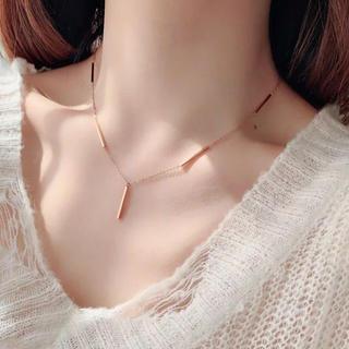 シンプルピンクゴールドネックレス ステンレス製 アレルギー対応(ネックレス)