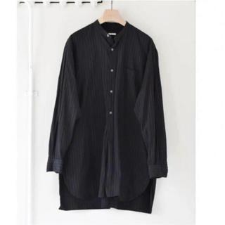 COMOLI - 19aw comoli バンドカラーシャツ チョークストライプ ブラック