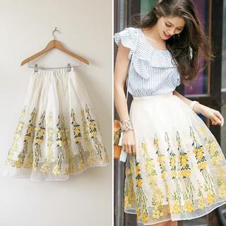 Chesty - Chesty オーガンジーフラワー刺繍スカート