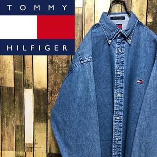 TOMMY HILFIGER - 【激レア】トミーヒルフィガー☆ワンポイントフラッグ刺繍ロゴデニムシャツ 90s