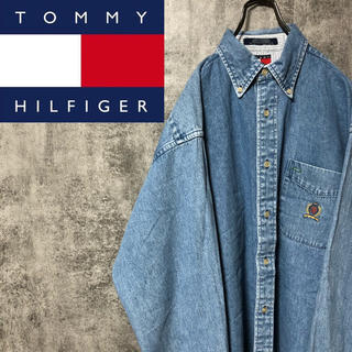 TOMMY HILFIGER - 【激レア】トミーヒルフィガー☆オールド刺繍ロゴポケットデニムシャツ 90s