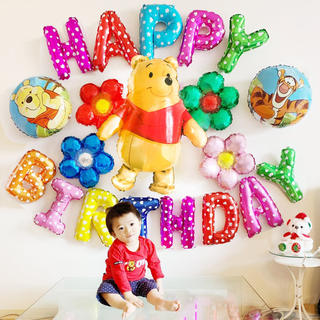 ディズニープーさんの誕生日バルーンセット♡文字カラー変更可♡送料無料