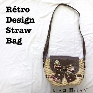 Lochie - 美品【 レトロデザイン 花柄リボン 】籠バッグ レザーバッグ ショルダーバッグ