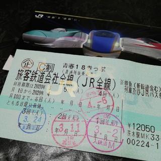 ジェイアール(JR)の青春18切符 残り1回分 (鉄道乗車券)
