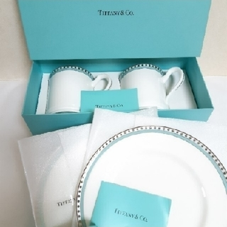 Tiffany & Co. - ティファニー プラチナブルーバンド マグカップ プレート セット