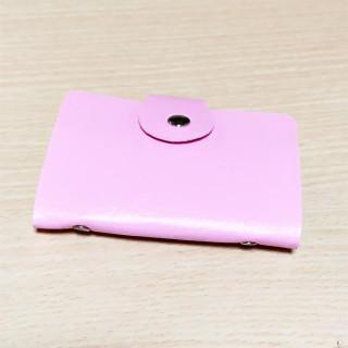 セール! 24枚収納可 コンパクト カードケース 薄ピンク(名刺入れ/定期入れ)