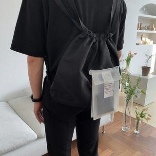 男女兼用 PVCポケット付き ナップサック リュック ブラック(バッグパック/リュック)