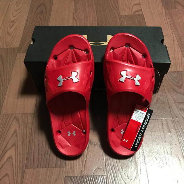 UNDER ARMOUR(アンダーアーマー)の希少 アンダーアーマー サンダル 26cm レッド 野球 ソフトボール テニス メンズの靴/シューズ(サンダル)の商品写真