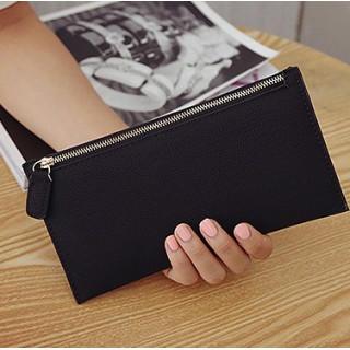 スリム財布 コンパクト 長財布 カード入れ レディース PU皮革 ブラック 黒(財布)