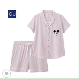 GU - GU ディズニー ミッキー 半袖 ストライプ パジャマ