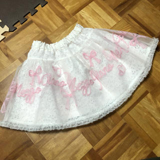 mezzo piano - お値下げ メゾピアノ ロゴ刺繍オーガンジースカート
