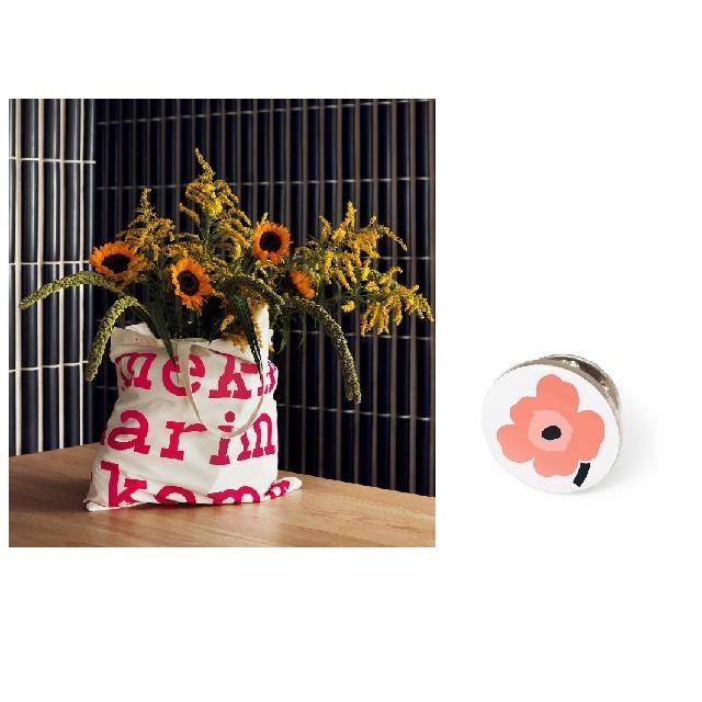 marimekko(マリメッコ)のマリメッコ marimekko ノベルティ ファブリックバッグ ピンバッジ  レディースのバッグ(トートバッグ)の商品写真