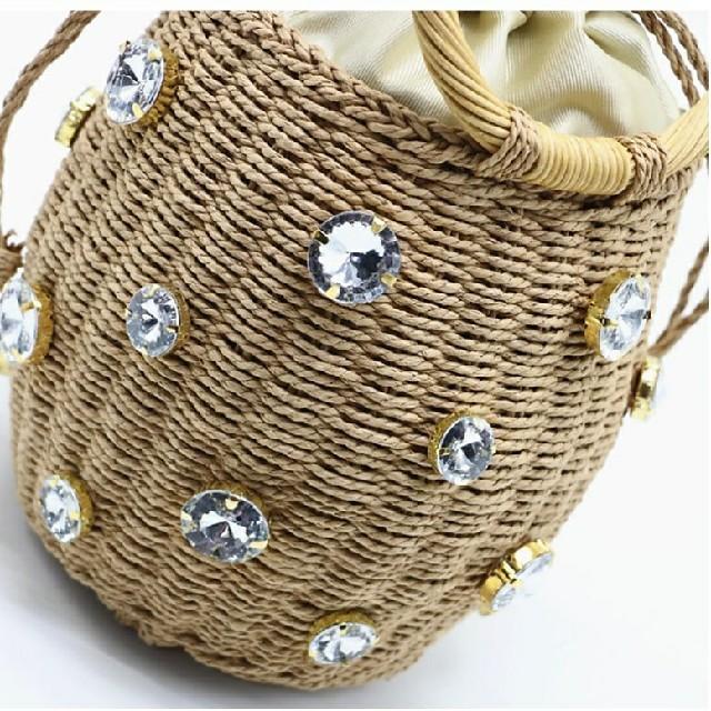 ZARA(ザラ)の*ワンポイント*かごバッグ/ラインストーン レディースのバッグ(かごバッグ/ストローバッグ)の商品写真