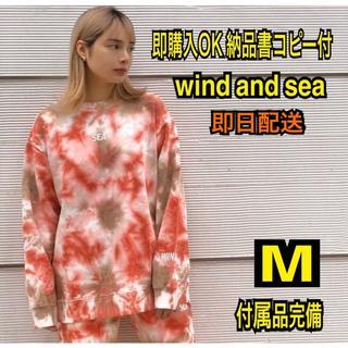 シュプリーム(Supreme)の即購入OK M wind and sea タイダイ スエット トレーナー 赤(スウェット)
