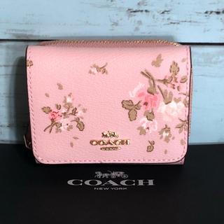 COACH - コーチ COACH 新品 ミニサイフ 三つ折ピンク花さくら ロゴ ブランド 財布