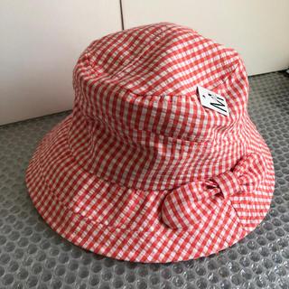 ギンガムチェック帽子赤Mサイズ(ハット)