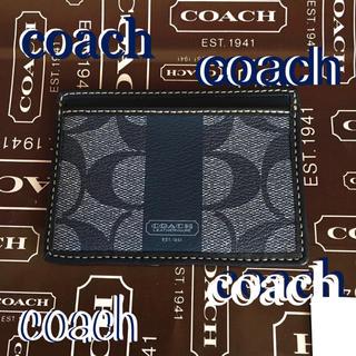 コーチ(COACH)のCOACHコーチUS限定ヘリテージ ストライプ スリムカードケースF74349(名刺入れ/定期入れ)