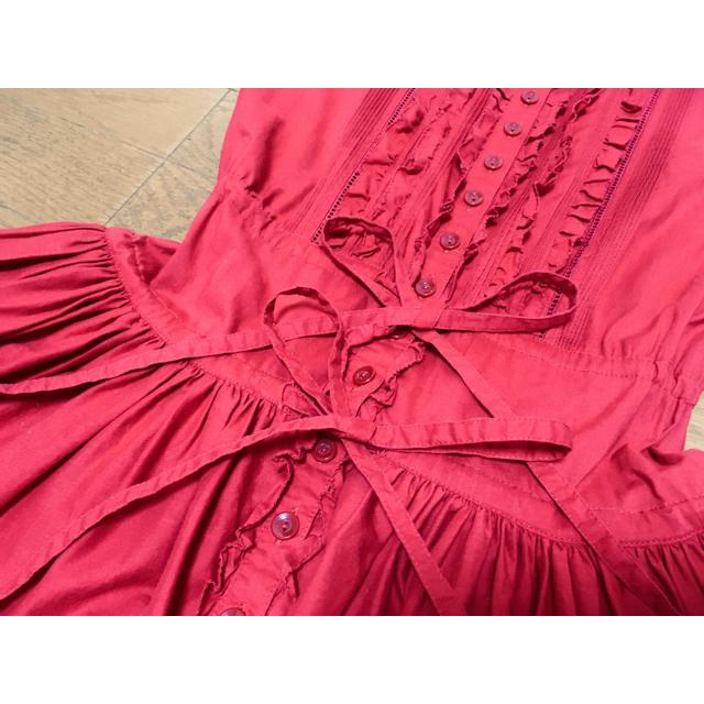 PINK HOUSE(ピンクハウス)の最終値下げ!ピンクハウスカネコイサオ赤半袖ピコフリルワンピース レディースのワンピース(ロングワンピース/マキシワンピース)の商品写真