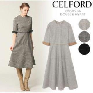 FOXEY - CELFORD セルフォード 合皮使いワンピース レザーパイピングドレス