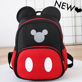 ミッキー リュック 赤 黒 耳付き 入園祝い 準備 登園 着替え袋 カバン 鞄(リュックサック)
