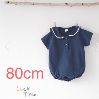 petit main - 80cm 韓国こども服 春夏服 セーラーロンパース