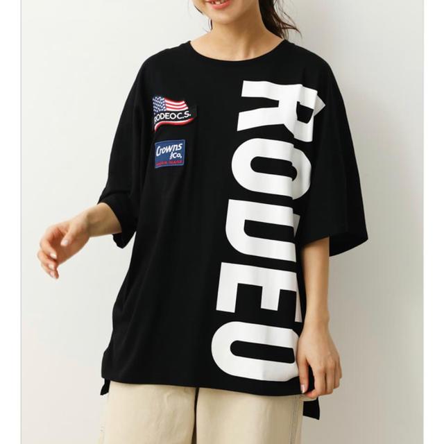 RODEO CROWNS WIDE BOWL(ロデオクラウンズワイドボウル)のロデオ★ W BIG LOGO Tシャツ/ブラック レディースのトップス(Tシャツ(半袖/袖なし))の商品写真