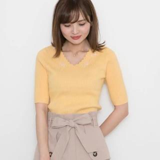 PROPORTION BODY DRESSING - スカラ衿ビーズ刺繍リブニット PROPORTION BODY DRESSING